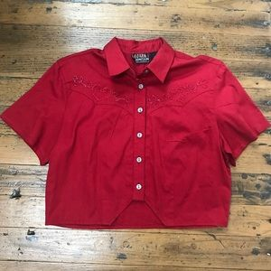Vintage red embroidered crop top